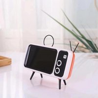 Cell Phone Mounts & Holders 2021 Portable Retro Mini TV Design Adjustable Mobile Holder Plastic Stand Desk Tablet Folding Desktop