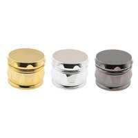 Fully Electroplated Plastic Grinders Smoking Tools Drum Shape Metal Color Herbal Grinder Metallic Concave Spice Mill Food Crusher 4 Layers Chamfer Side