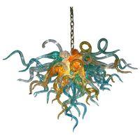 Modern Hand Blown Glass Chandelier 70 by 60 cm LED Home Lighting Indoor Pendant Lamp Luxury Crystal Chandelier Living Room Lustres