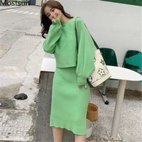 2019 Autumn Green Knitted 2 Piece Sets Women Long Sleeve Tops And Sleeveless Dress Suits Casual Fashion 2 Pcs Sets Femme