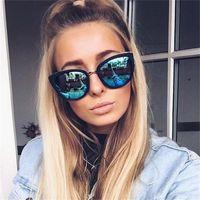 الأزياء القط مرآة نظارات المرأة العلامة التجارية مصمم العين إطار المعادن فتاة براون المرأة كبيرة التدرج