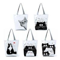 Evening Bags Customized Tote Shopping Bag Cute Cat Printing Women Handbag Totes With Print Casual Traveling Beach Cartoon Shoulder