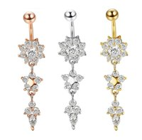 & Bell Jewelrysexy Dangle Bars Button Belly Cz Crystal Flower Body Jewelry Navel Piercing Rings Mya30 Drop Delivery 2021 8Vgl1