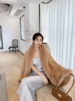 OFTBUY 2021 New Luxury Winter Jacket Women Ponchos Natural Real Fox Fur Collar Cashmere Wool Blends Coat Warm Fashion Outerwear
