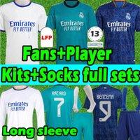 Real Madrid Soccer jerseys Erwachsene+Kinder Kits+Socken Sets 20/21 Fans+Spielerversion Fussball Jersey 2020 2021 HAZARD SERGIO RAMOS BENZEMA MODRIC KROOS Fußball Trikots