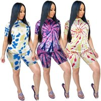 Shorts Two-Piece Set European and American Tie Dye Printed Round Neck Casual Sports T-Shirt Womens New Suit