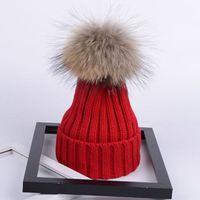 Invierno niños 14 cm desmontable piel real pom pom gorro de punto sowiekies niño muchachos casual rizado acrílico acrílico gorras sombreros