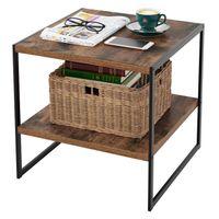 산업용 사각형 사이드 데스크 2 층 선반 나무 효과 금속 프레임과 함께 침대 옆 커피 테이블 내구성 빈티지 가구