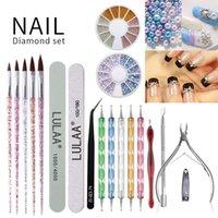 Nail Art Kits 19Pcs Brush Set Of Dottiing&Painting Tools Acrylic Powder Carving Gel Brushes Lot With Nails Accessories DIY