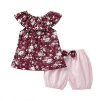 Clothing Sets Toddler Kids Girl Floral Sleeveless Tops+bow Shorts Pants Outfits Clothes Set Cartoon Suit Casual Trajes De Ninas
