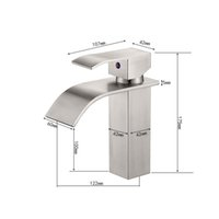 Single Handle Waterfall Bathroom Vanity Sink Faucet with Extra Large Rectangular Spout, Brushed Nickel