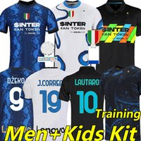 Inter 2021 2022 Soccer Jerseys Dzeko J.Correa Çalhanoglu Milan Milan Vidal Barella Lautaro Eriksen Alexis Hakimi 21/22 كرة القدم قميص الرجال + أطفال كيت الرئيسية