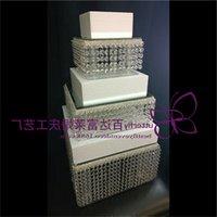 3 camadas Cristal Bolo Stand Quadrado Acrílico Cristal Chandelier Cupcake Stand Aniversário De Casamento Anniversary Display Ferramentas