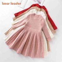 Bear Leader Long Sleeve Sweater Dress Girls Princess Baby Clothes Sweet Tutu Party Dresses Christmas Little 210804
