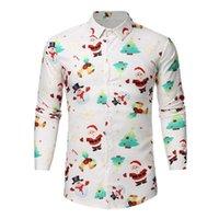 Men's Casual Shirts Christmas Print Series Suit Men Fashion Red Black White Button Up Mens Dress Suits Xmas Party Prom Blouse Chemise Homme