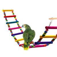 Altre forniture per uccelli in legno colorato pappagallo pet pappagallo ladder scala arrampicata cockatiel cockatiel criceto giocattoli giocattoli di birdcage ponte di allenamento a casa