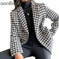 Women's Jackets Aonibeier Women Tweed Office Ladies Black Tassel Houndstooth Coats Female Autumn Vintage Thick Plaid Coat Girls Chic