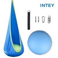 Chaise hamac avec oreiller gonflable, aire de jeux de jardin, nid d'enfant pour intérieur et extérieur, 300 lb (bleu)