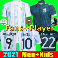2021 22 camisas de futebol da Argentina MARADONA MESSI camisa de futebol copa america KUN AGÜERO DI MARIA LO CELSO MARTINEZ CORREA DYBALA Camisa de futebol masculino kit infantil