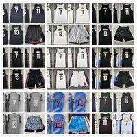 2021 2022 Jerseys de basquete da cidade branca 13 Harden 7 Kevin 11 Kyrie Durant Irving Jersey Top Quality Costurado Black Blue Gradual Change Homem Curto