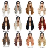 WoodFestival 68cm Blonde Ombre Wig Long Women Synthetic Wigs Fashion Natural Hair Fiber Brown Mixed colors