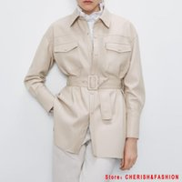Women's Leather & Faux Motorcycle Women Shirt Street Personality Metal Single Buttons Pu Autumn Winter Casual Long Sleeve Tops Blouse