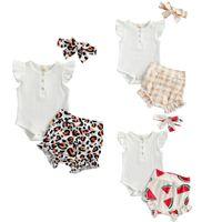 Clothing Sets Summer Causal Baby Girls Boys Clothes Ruffles Short Sleeve Button Romper Leopard Watermelon Plaid Shorts Headband