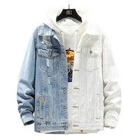 GINZOUS Casual Shirts Men's Blue White Patchwork Jean Jacket Slim Long Sleeve Ripped Denim Coat Spliced Top Outerwear
