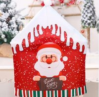 Christmas Chairies Cover Santa Claus Snowman Elk Kitchen Table Chair Covers Holiday Party Home Decoration