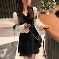 French Vintage Mini Dres Spring Lace Bow Velvet Evening Party Dress Female Y2k Casual Kawaii Dress Korean 210729