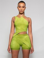 Velour Asymmetry Tracksuits Two Piece Set Women Avocado Halter Crop Top+Crease Shorts Matching Outfit Female Casual Workout Atirewear