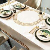 Lüks Tasarımcı Masa Örtüsü 3D Su Geçirmez Masa Örtüsü Dikdörtgen Yemeği Ev Mutfak Dekoratif Polyester Çay Masa Masası SQX