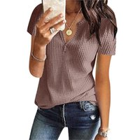 Women's Blouses & Shirts Solid Knit Short Sleeve Tunic Top Sexy V-neck Loose Ribbed Vintage Blouse Blusas Mujer De Moda #G2