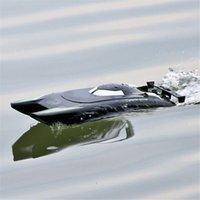 듀얼 모터 RC 보트 25km / h 고속 레이싱 보트 7.4V 대용량 배터리 2 채널 2.4G 원격 제어 보트 TSLM1 210323