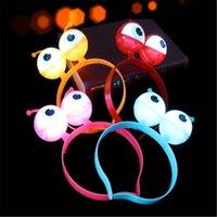 Flash eye ball hoop light Halloween party hair headdress props luminous big eye alien LED head hoop Decoration Night Light for baby kid gril