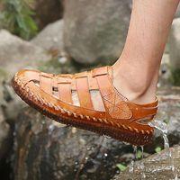 Sandals Men Retro Casual Shoes Handmade Genuine Leather Sneakers Summer Beach Flats Outdoor Walking Footwear 38-48