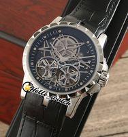 Excalibur 46 ساعات التلقائي مزدوجة Tourbillon RDDBEX0396 رجل ووتش الهيكل العظمي الطلب الأسود الداخلية الصلب حالة حزام جلد عالية الجودة HWRD hello_watch
