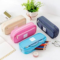 Zippered Pen Case College Office Pencil Bag Nylon Stationery Storage Pouch Kids Students Organiser