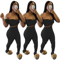 set outfits S-XXL two piece outfits summer womens sexy breast-wiping and umbilical fold solid color two piece 2020 designer women