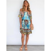 Women Printing Bohemia Dresses Fashion Trend Short Sleeve Slim Skirts Designer Female Summer Strapless Casual High Waist Loose Dress