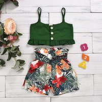 Clothing Sets Toddler Kids Baby Girls Summer Sling Top Flower Print Shorts Clothes Set 2pcs Outfits Fashion Casual Floral
