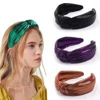 Vintage Hairband Kadınlar Shining Geniş Yan Düğüm Kafa Yetişkin Klasik Saç Aksesuarları Ipek Hairbands Altın Gümüş Şapkalar