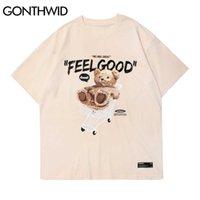 GONTHWID Short Sleeve Tees Harajuku Streetwear Toy Bear Shopping Cart Print T-Shirts Cotton Casual Hip Hop Loose Tshirts Tops 210623