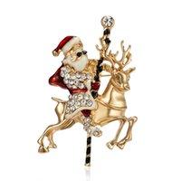 여성 빈티지 골드 크리스탈 천사 금속 브로치 핀 섬세 한 크리스마스 트리 화환 종소리 산타 클로스 브로치 파티 쥬얼리 선물 H1018