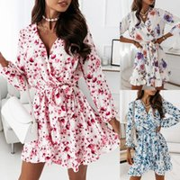 Casual Dresses A-Line Office Women Mini Dress Long Sleeve Floral Printed Ladies Sundress Bow Tie Deep V Neck Business Work Wear D30