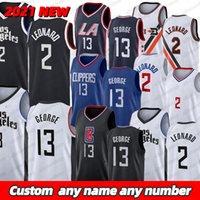 Erkek 2020/21 Swingman Jersey City Kawhi 2Leonard Paul 13 George Dikişli Basketbol Formaları 2021 2022 Açık Giyim Boyut S-2XL