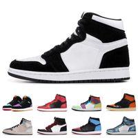 2020 Novo 1 1S Homens Sapatos de Basquete Esportes Ilustrados Chameleon Court Roxo Mulheres Mens Melhores Respiráveis Esportes Ao Ar Livre Sapatos de Esportes Tamanho 5.5-12
