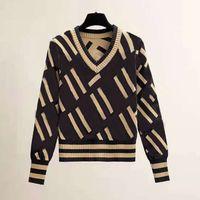 Sweter Crochet Mujer Kobiety Designer Swetry Damskie Długie Rękaw Bluza List Drukowanie Casual Jesień Duży Rozmiar Neck Sweter Drug