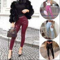 Latex Elastic Spring PU Womens Capri Leather Slim Bodycon High Waist Pencil Trousers Girls Sexy leggings Korean