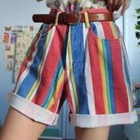 Retro Shorts 2021 Sommer Vintage Farbe Gestreifte Shorts High Street Bunte Lose Kurze Hosen Streetwear Shorts Frauen Kleidung x0320